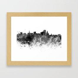 Hartford skyline in black watercolor on white background Framed Art Print