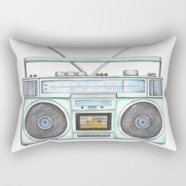 Vintage Boombox - Watercolor Boombox - 80's Art - Music - Stereo - Radio Rectangular Pillow