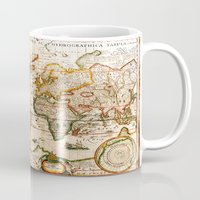vintage map Mugs featuring Vintage Map by Diego Tirigall