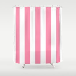 Flamingo pink - solid color - white vertical lines pattern Shower Curtain