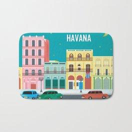 Havana, Cuba - Skyline Illustration by Loose Petals Bath Mat