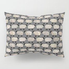 Wee Wooly Sheep in Aran Sweaters  Pillow Sham