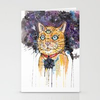 space cat Stationery Cards featuring Space Cat by scoobtoobins