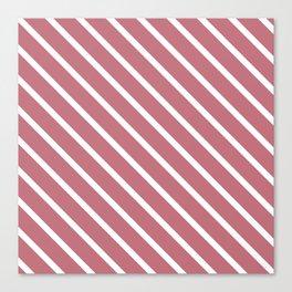 Dusk Pink Diagonal Stripes Canvas Print
