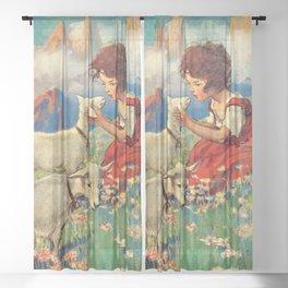 12,000pixel-500dpi - Jessie Willcox Smith - Heidi, Girl Of The Alps - Digital Remastered Edition Sheer Curtain