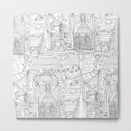 doodle cartoon village Metal Print