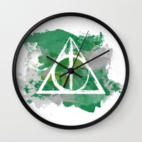 slytherin Wall Clocks featuring The Deathly Hallows (Slytherin) by FictionTea