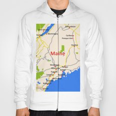 Map of Maine state, USA Hoody