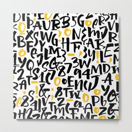numbers and letters, black and yellow Metal Print