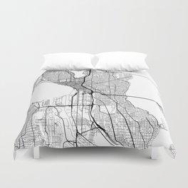 Seattle Map White Duvet Cover