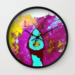 Afro Funk Girl colors Yellow Pink Wall Clock