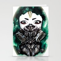 cyberpunk Stationery Cards featuring Cyberpunk Kyoshi Warrior by SmidgenSpunks