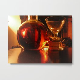 bottle in the light of a fire Metal Print