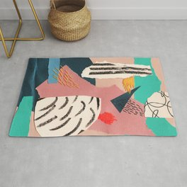 abstract collage with embroidery Rug