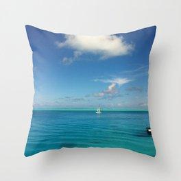 Bora Bora Hilton NUI Bungalow View Throw Pillow
