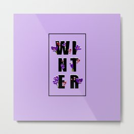 Winter word with flowers and berries VIOLET Metal Print