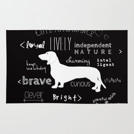 Dachshund black and white Rug