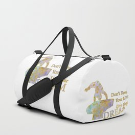 Live Your Dream Gymnastics Design in Watercolor and Gold Duffle Bag