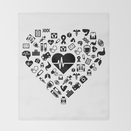 I Love First Aid | Doctor Nurse Heart Hospital Throw Blanket