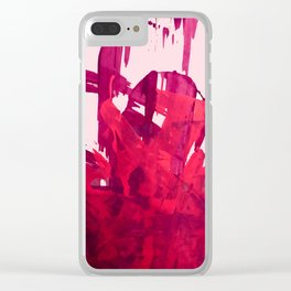 Embers: a vibrant abstract piece in pinks Clear iPhone Case