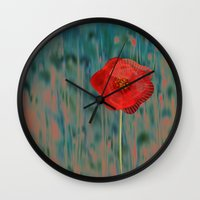 alone Wall Clocks featuring Alone by Klara Acel