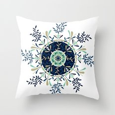 Leaf Mandala – Navy & Mint Palette Throw Pillow