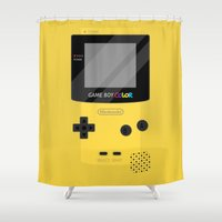 gameboy Shower Curtains featuring Gameboy Color - Yellow by katy-makes-things