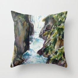 Avalanche creek, Glacier National Part Throw Pillow