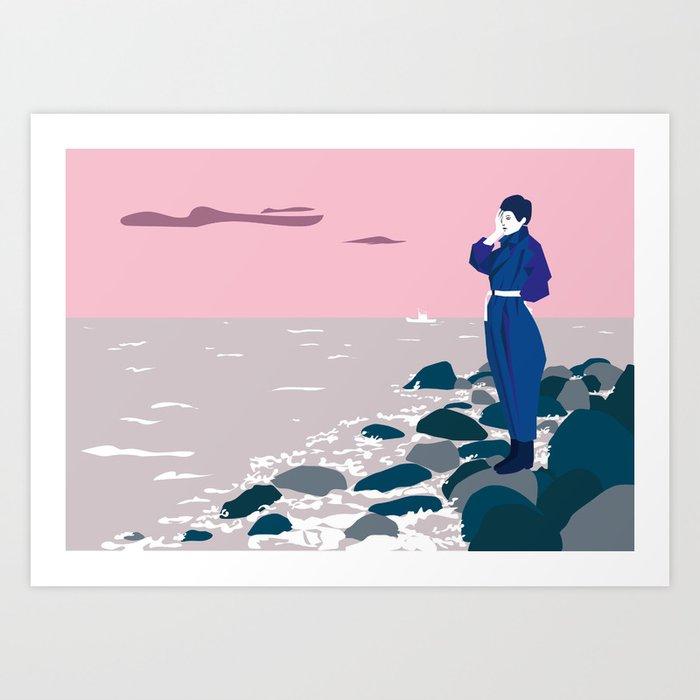 Woman by the sea Art Print