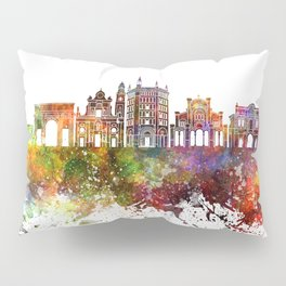 Parma skyline in watercolor background Pillow Sham