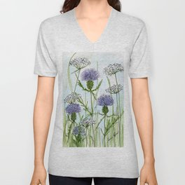 Thistle White Lace Watercolor Unisex V-Neck