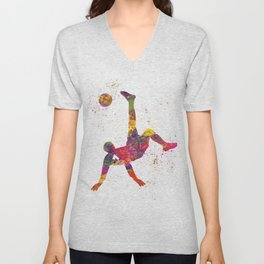 Soccer player isolated 09 in watercolor Unisex V-Neck