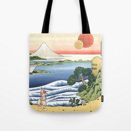 Robot in Hokusai's World Tote Bag