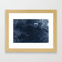 Navy Marble Framed Art Print