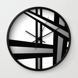Bold Metallic Beams - Minimalistic, abstract black and white artwork Wall Clock