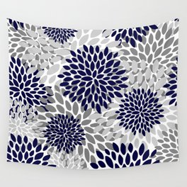 Abstract, Floral Prints, Navy Blue and Grey Wall Tapestry