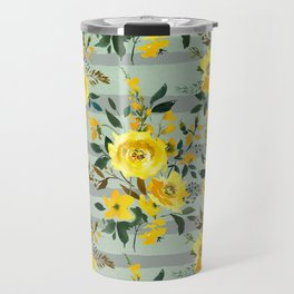 Modern hand painted yellow green watercolor stripes floral Travel Mug