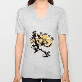 Mud Sweat and Gears Cyclocross Illustration Unisex V-Neck