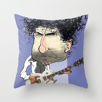 bob dylan Throw Pillows featuring Bob Dylan by Studio Drawgood