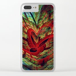 Entangled hearts, symbolic fractal abstract Clear iPhone Case
