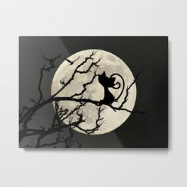 Black Cat Watching Flying Bird Moon Child's Kitty Bedroom Art A552 Metal Print