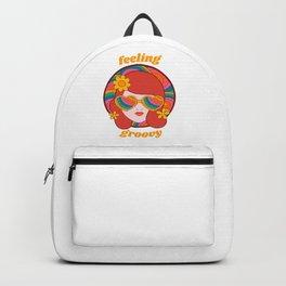 Feeling Groovy - Retro Rainbow Girl in Heart Sunglasses Backpack