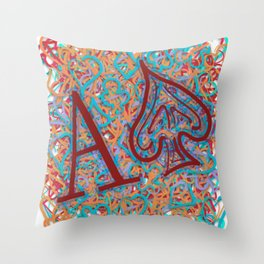 Ace of Spades Skribble Red Blue Throw Pillow