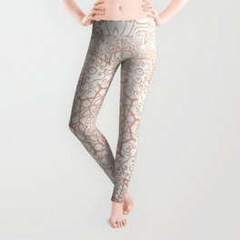 Mandala - rose gold and white marble 3 Leggings
