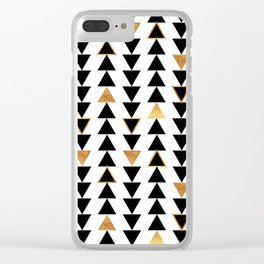 Geometric Triangle Print - Black White and Gold Clear iPhone Case