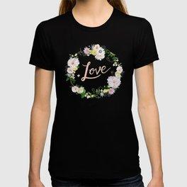 Love Pink Flower Wreath T-shirt