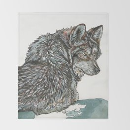Timber Wolf Throw Blanket