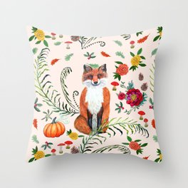 Fall Fox floral with fircones, berries and red mushrooms Throw Pillow
