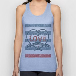 Maritime Design- Love is my anchor on navy blue and red striped background Unisex Tank Top