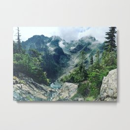 Mountain through the clouds Metal Print